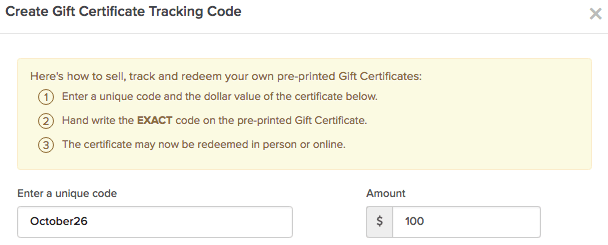 selling your own pre printed gift certificates massagebook